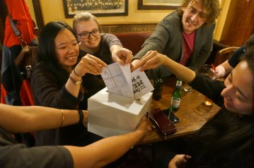 """Public """"voting"""" with the postcards."""